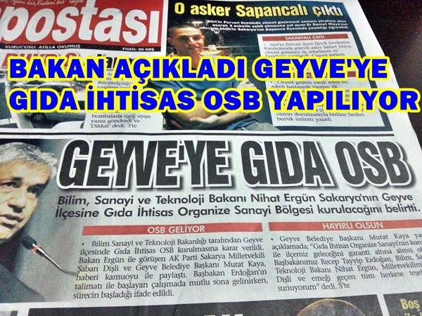 GEYVE'YE GIDA  OSB YAPILIYOR